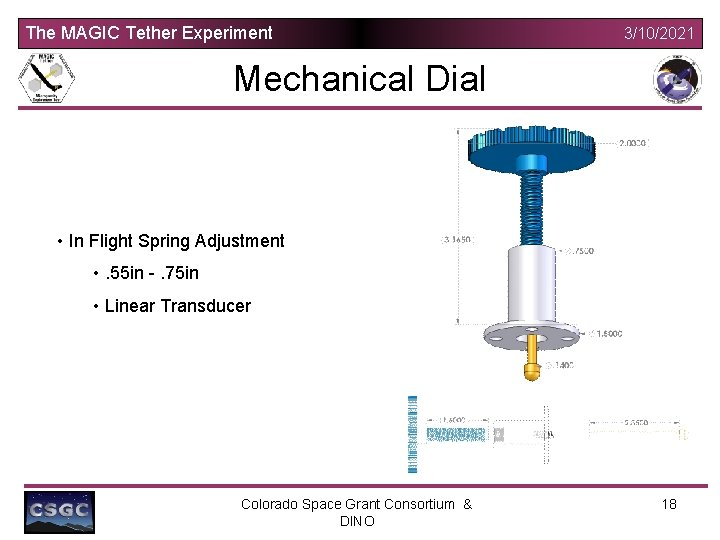 The MAGIC Tether Experiment 3/10/2021 Mechanical Dial • In Flight Spring Adjustment • .