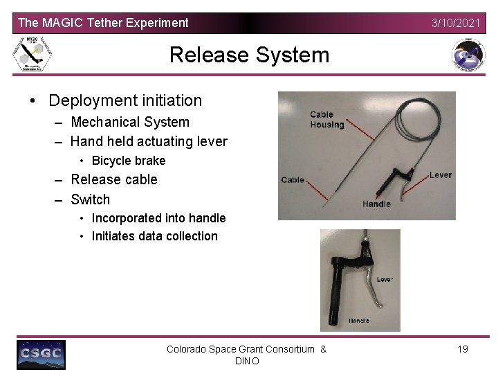 The MAGIC Tether Experiment 3/10/2021 Release System • Deployment initiation – Mechanical System –