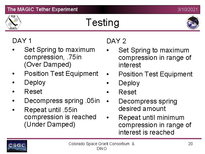 The MAGIC Tether Experiment 3/10/2021 Testing DAY 1 • Set Spring to maximum compression,