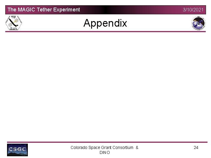 The MAGIC Tether Experiment 3/10/2021 Appendix Colorado Space Grant Consortium & DINO 24