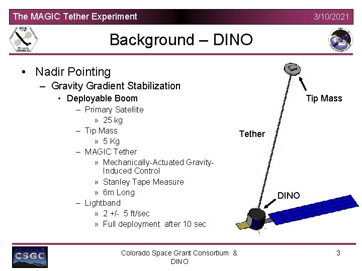 The MAGIC Tether Experiment 3/10/2021 Background – DINO • Nadir Pointing – Gravity Gradient