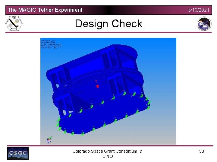 The MAGIC Tether Experiment 3/10/2021 Design Check Colorado Space Grant Consortium & DINO 33