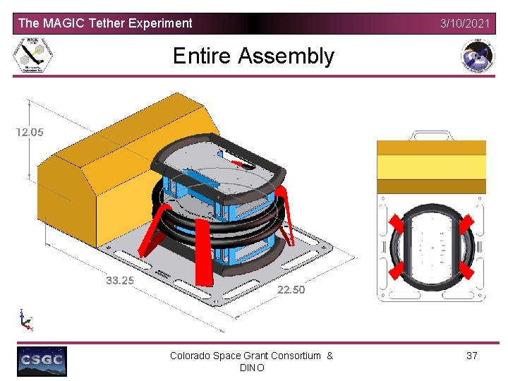 The MAGIC Tether Experiment 3/10/2021 Entire Assembly Colorado Space Grant Consortium & DINO 37