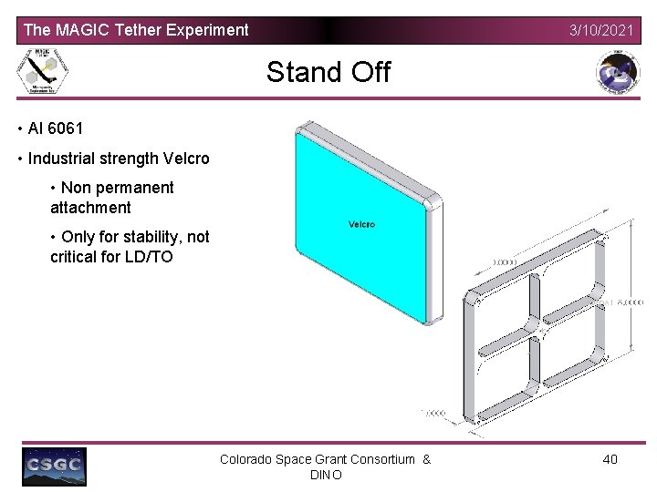 The MAGIC Tether Experiment 3/10/2021 Stand Off • Al 6061 • Industrial strength Velcro