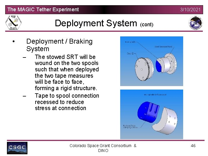 The MAGIC Tether Experiment Deployment System • 3/10/2021 (cont) Deployment / Braking System –