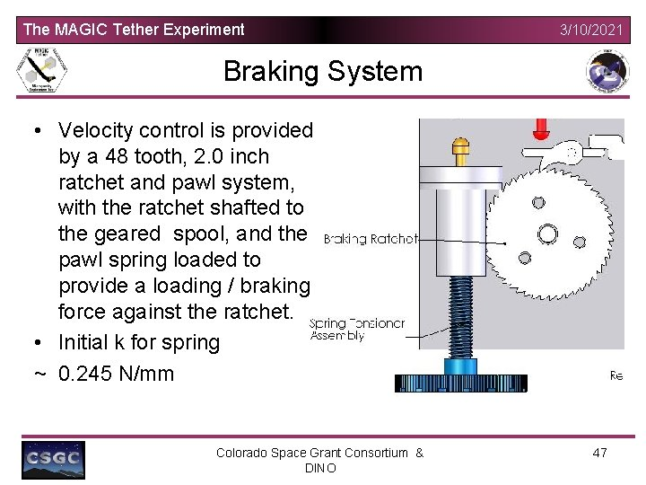 The MAGIC Tether Experiment 3/10/2021 Braking System • Velocity control is provided by a