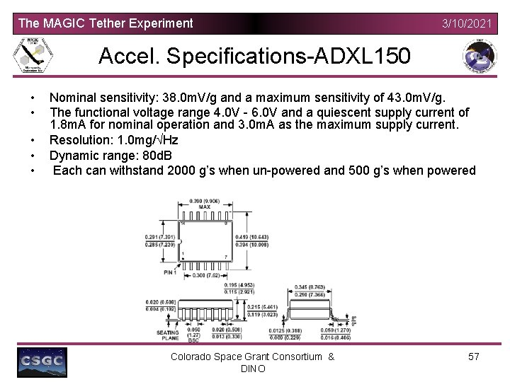The MAGIC Tether Experiment 3/10/2021 Accel. Specifications-ADXL 150 • • • Nominal sensitivity: 38.