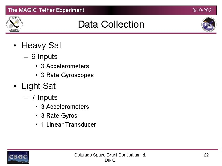 The MAGIC Tether Experiment 3/10/2021 Data Collection • Heavy Sat – 6 Inputs •