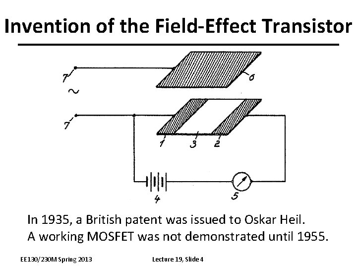 Invention of the Field-Effect Transistor In 1935, a British patent was issued to Oskar