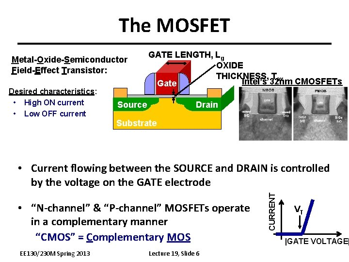 The MOSFET Metal-Oxide-Semiconductor Field-Effect Transistor: Desired characteristics: • High ON current • Low OFF