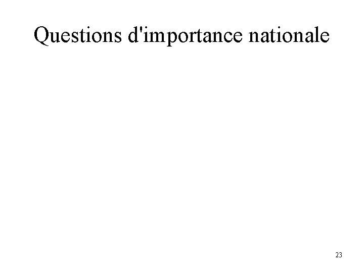 Questions d'importance nationale 23