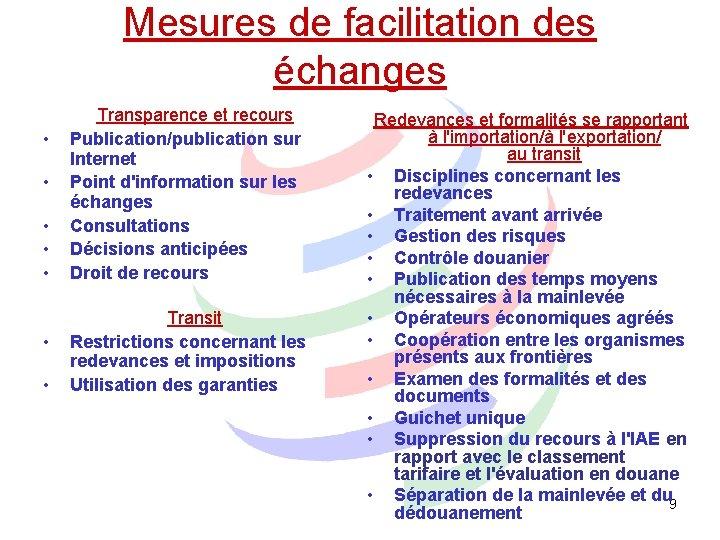 Mesures de facilitation des échanges • • Transparence et recours Publication/publication sur Internet Point