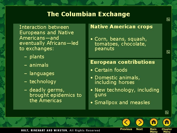 The Columbian Exchange Interaction between Europeans and Native Americans—and eventually Africans—led to exchanges: –