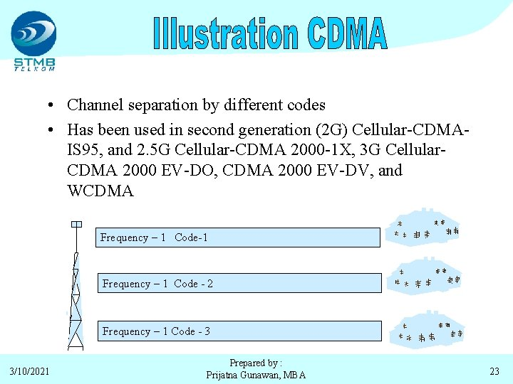 • Channel separation by different codes • Has been used in second generation