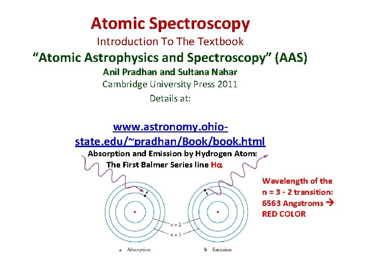 """Atomic Spectroscopy Introduction To The Textbook """"Atomic Astrophysics and Spectroscopy"""" (AAS) Anil Pradhan and"""