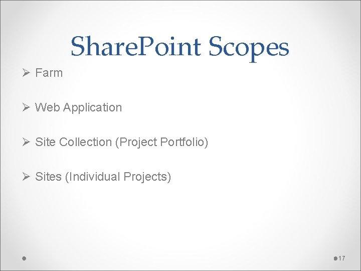 Share. Point Scopes Ø Farm Ø Web Application Ø Site Collection (Project Portfolio) Ø