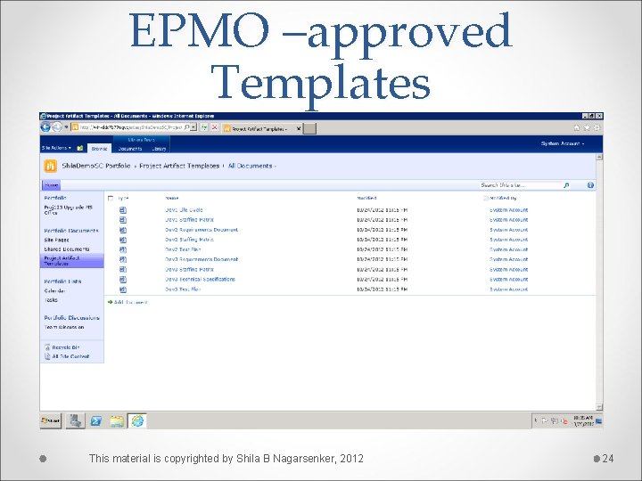 EPMO –approved Templates This material is copyrighted by Shila B Nagarsenker, 2012 24