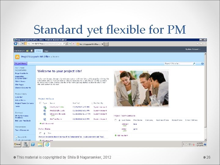 Standard yet flexible for PM This material is copyrighted by Shila B Nagarsenker, 2012