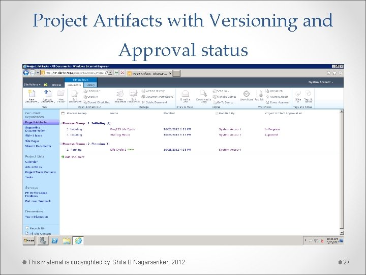 Project Artifacts with Versioning and Approval status This material is copyrighted by Shila B