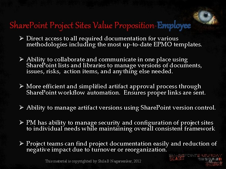 Share. Point Project Sites Value Proposition-Employee Ø Direct access to all required documentation for