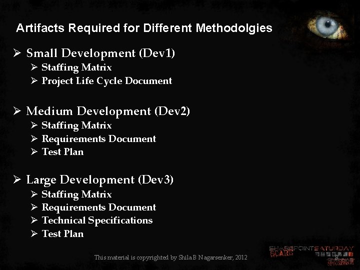 Artifacts Required for Different Methodolgies Ø Small Development (Dev 1) Ø Staffing Matrix Ø