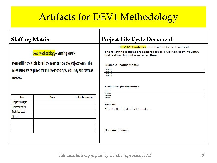 Artifacts for DEV 1 Methodology Staffing Matrix Project Life Cycle Document This material is