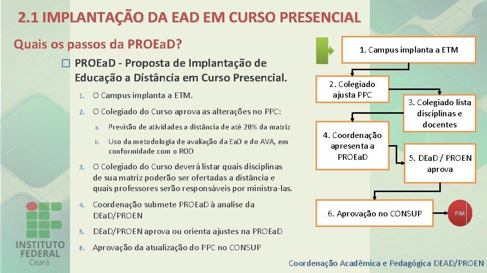 2. 1 IMPLANTAÇÃO DA EAD EM CURSO PRESENCIAL Quais os passos da PROEa. D?