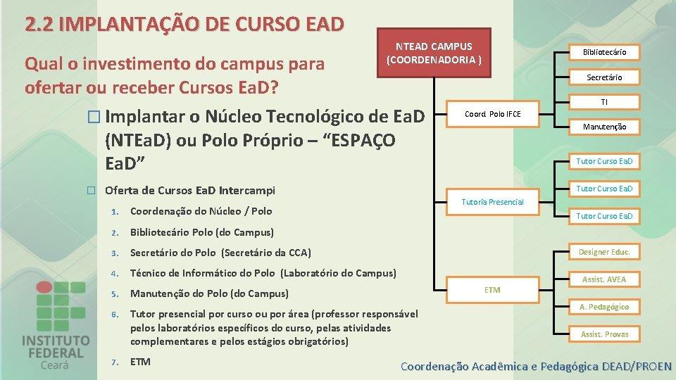 2. 2 IMPLANTAÇÃO DE CURSO EAD NTEAD CAMPUS (COORDENADORIA ) Qual o investimento do