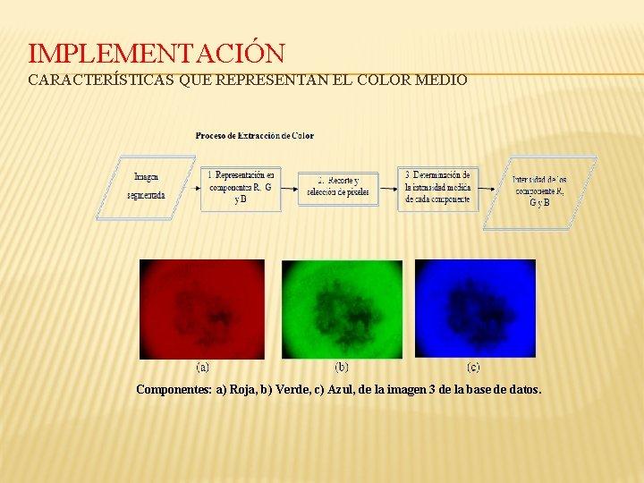 IMPLEMENTACIÓN CARACTERÍSTICAS QUE REPRESENTAN EL COLOR MEDIO Componentes: a) Roja, b) Verde, c) Azul,