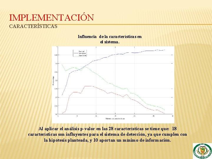 IMPLEMENTACIÓN CARACTERÍSTICAS Influencia de la características en el sistema. Al aplicar el análisis p-valor