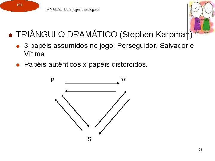 101 l ANÁLISE DOS jogos psicológicos TRI NGULO DRAMÁTICO (Stephen Karpman) l l 3