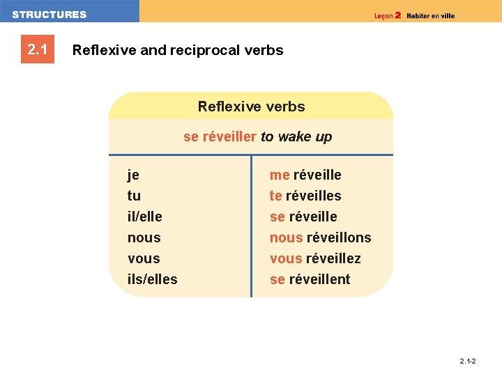 2. 1 Reflexive and reciprocal verbs Reflexive verbs se réveiller to wake up je