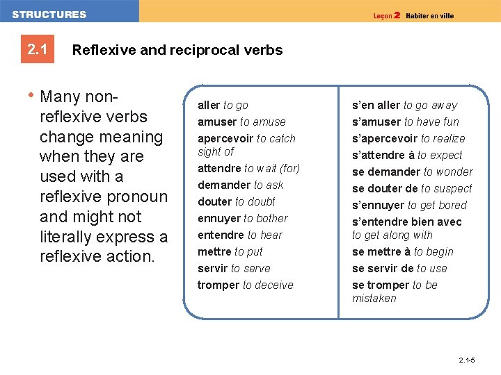 2. 1 Reflexive and reciprocal verbs • Many nonreflexive verbs change meaning when they