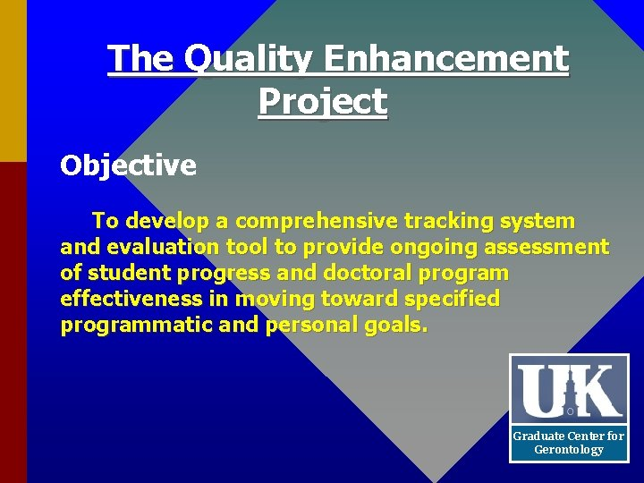 The Quality Enhancement Project Objective To develop a comprehensive tracking system and evaluation tool