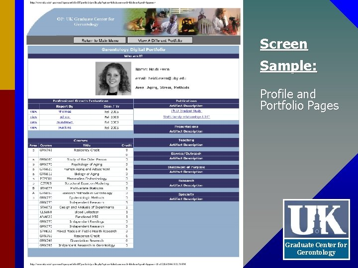Screen Sample: Profile and Portfolio Pages Graduate Center for Gerontology