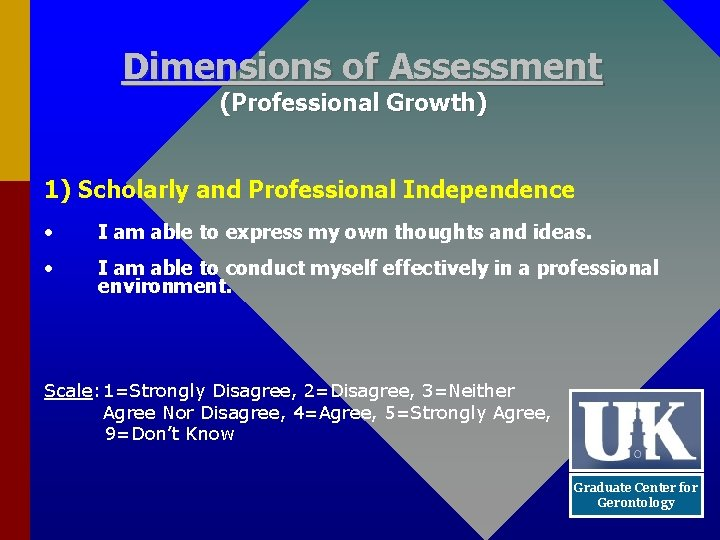 Dimensions of Assessment (Professional Growth) 1) Scholarly and Professional Independence • I am able