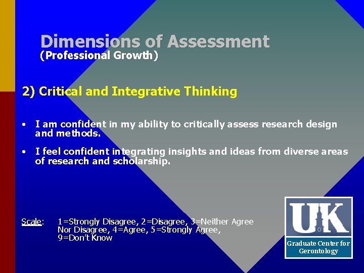 Dimensions of Assessment (Professional Growth) 2) Critical and Integrative Thinking • I am confident