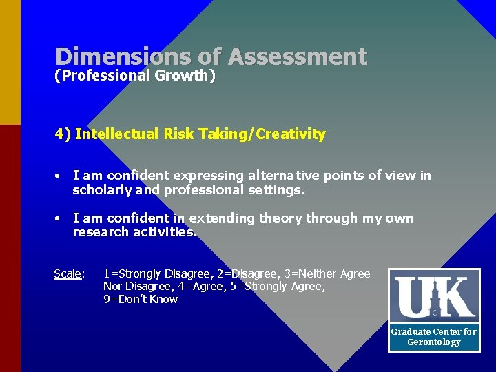 Dimensions of Assessment (Professional Growth) 4) Intellectual Risk Taking/Creativity • I am confident expressing