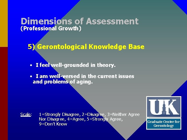 Dimensions of Assessment (Professional Growth) 5) Gerontological Knowledge Base • I feel well-grounded in