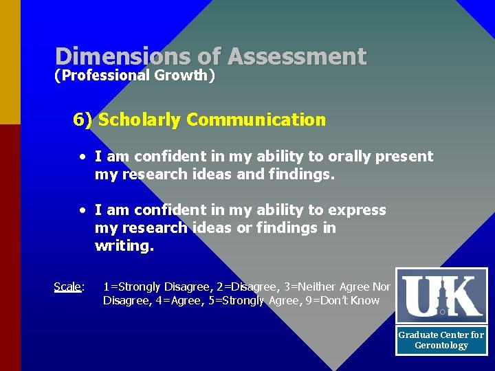 Dimensions of Assessment (Professional Growth) 6) Scholarly Communication • I am confident in my