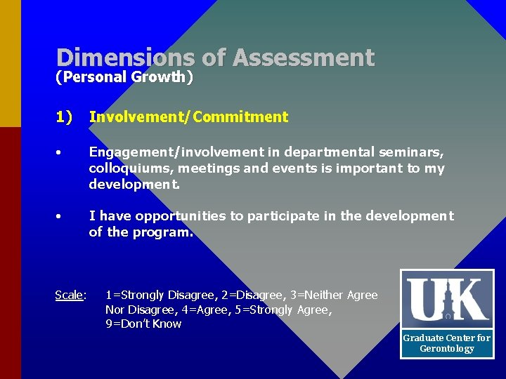 Dimensions of Assessment (Personal Growth) 1) Involvement/Commitment • Engagement/involvement in departmental seminars, colloquiums, meetings