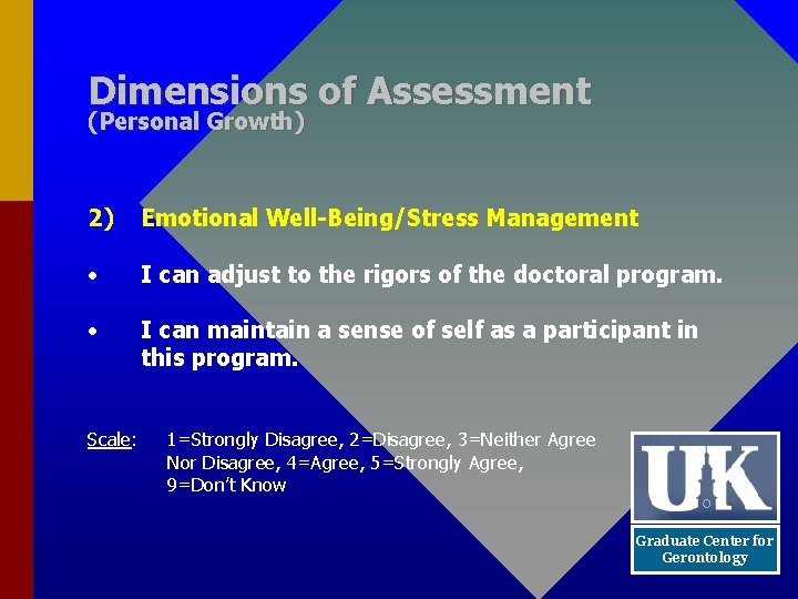 Dimensions of Assessment (Personal Growth) 2) Emotional Well-Being/Stress Management • I can adjust to