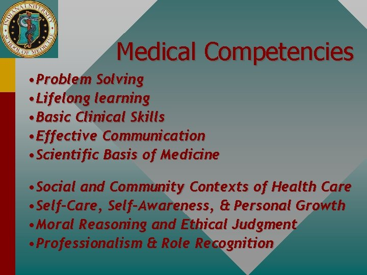 Medical Competencies • Problem Solving • Lifelong learning • Basic Clinical Skills • Effective