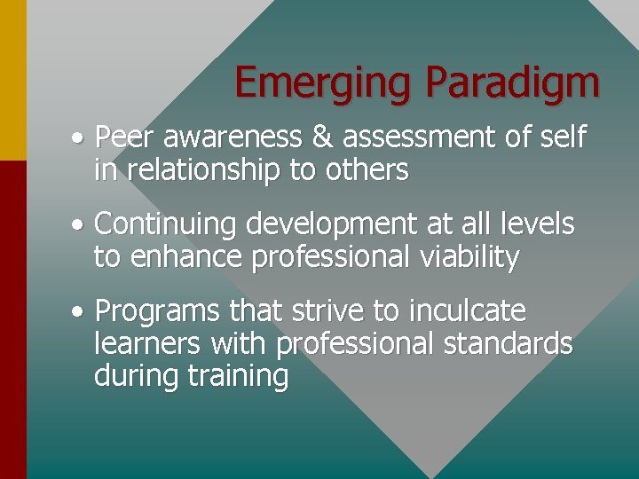 Emerging Paradigm • Peer awareness & assessment of self in relationship to others •