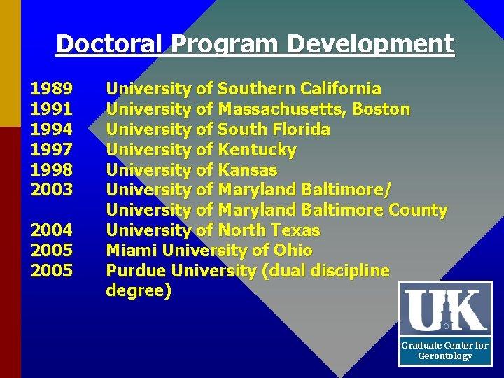 Doctoral Program Development 1989 1991 1994 1997 1998 2003 2004 2005 University of Southern