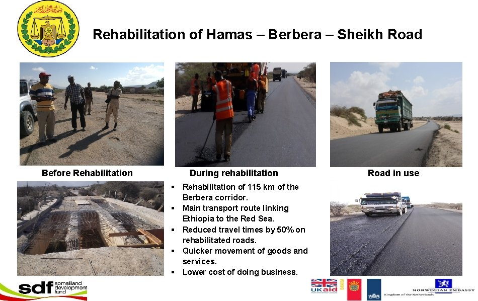 Rehabilitation of Hamas – Berbera – Sheikh Road Before Rehabilitation During rehabilitation § Rehabilitation