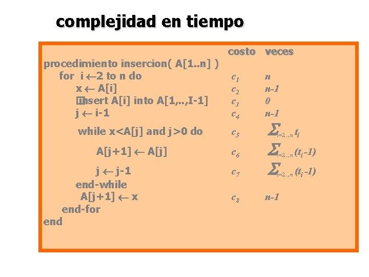 complejidad en tiempo procedimiento insercion( A[1. . n] ) for i 2 to n