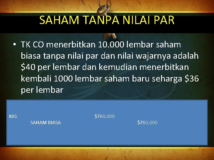 SAHAM TANPA NILAI PAR • TK CO menerbitkan 10. 000 lembar saham biasa tanpa