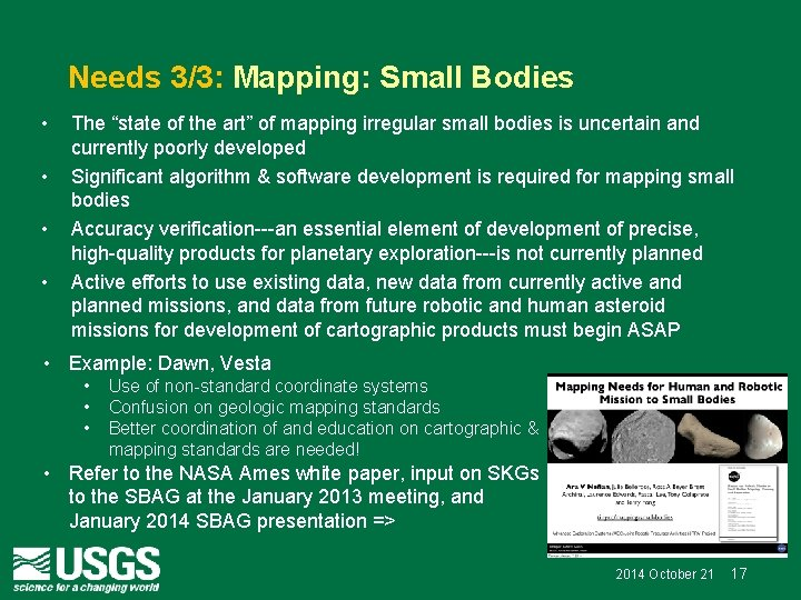 """Needs 3/3: Mapping: Small Bodies • • The """"state of the art"""" of mapping"""