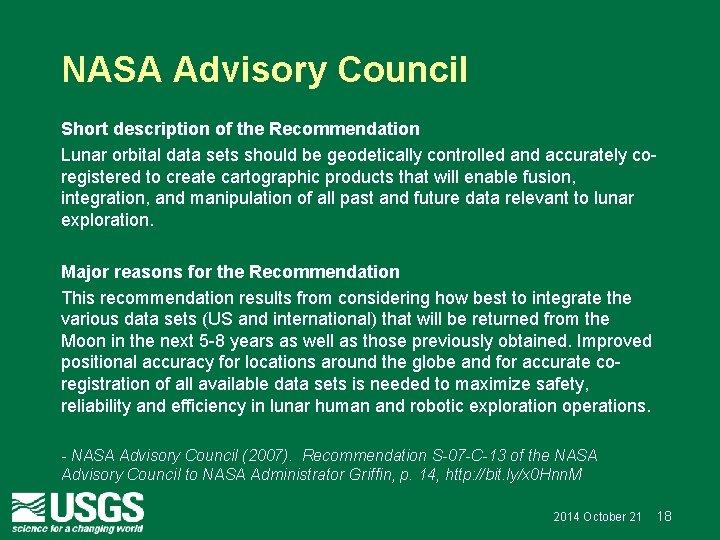 NASA Advisory Council Short description of the Recommendation Lunar orbital data sets should be